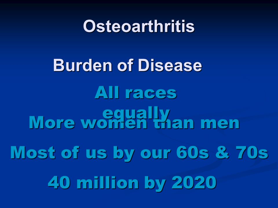 Osteoarthritis Burden of Disease. All races equally. More women than men. Most of us by our 60s & 70s.
