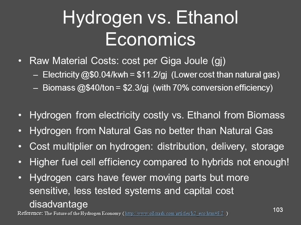 Hydrogen vs. Ethanol Economics