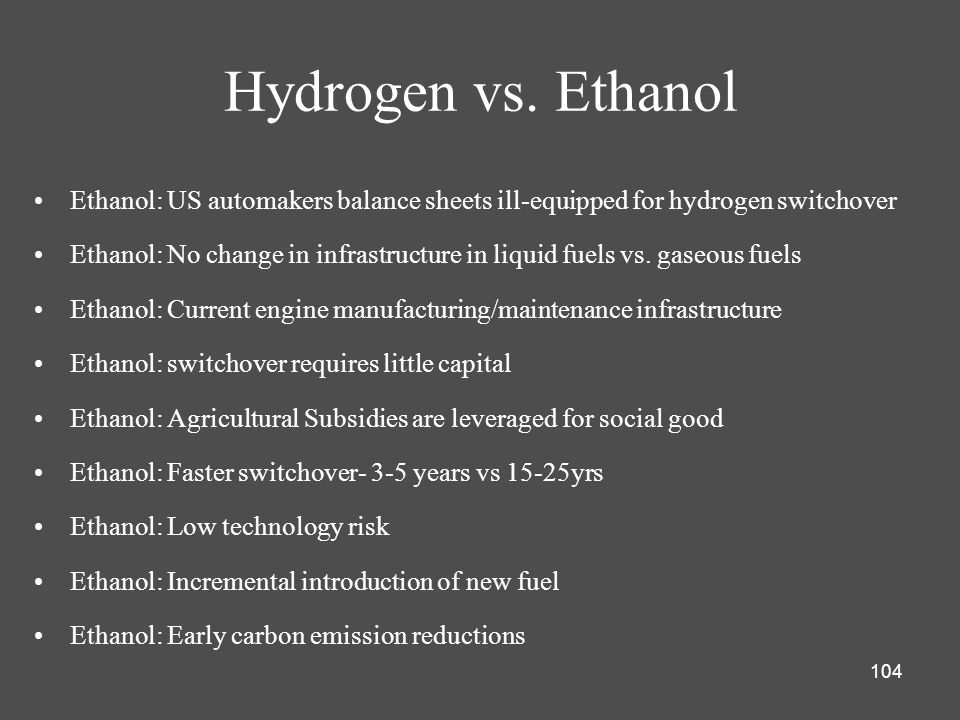 Hydrogen vs. Ethanol Ethanol: US automakers balance sheets ill-equipped for hydrogen switchover.