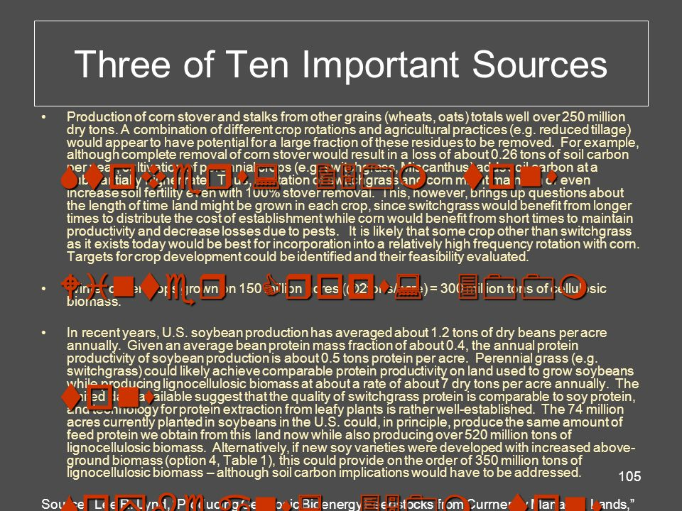 Three of Ten Important Sources