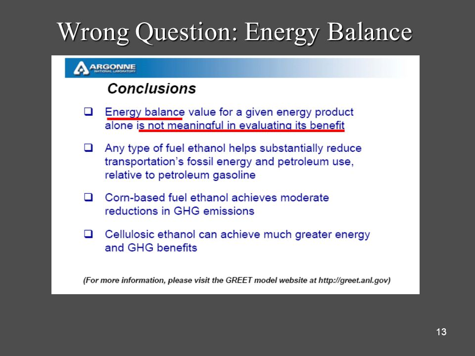 Wrong Question: Energy Balance
