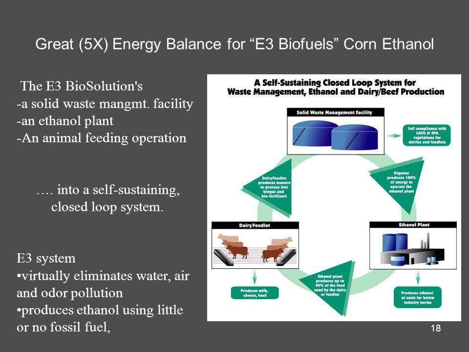 Great (5X) Energy Balance for E3 Biofuels Corn Ethanol