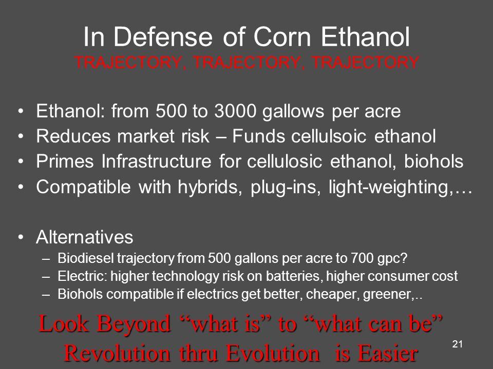 In Defense of Corn Ethanol TRAJECTORY, TRAJECTORY, TRAJECTORY