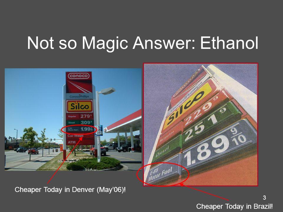 Not so Magic Answer: Ethanol