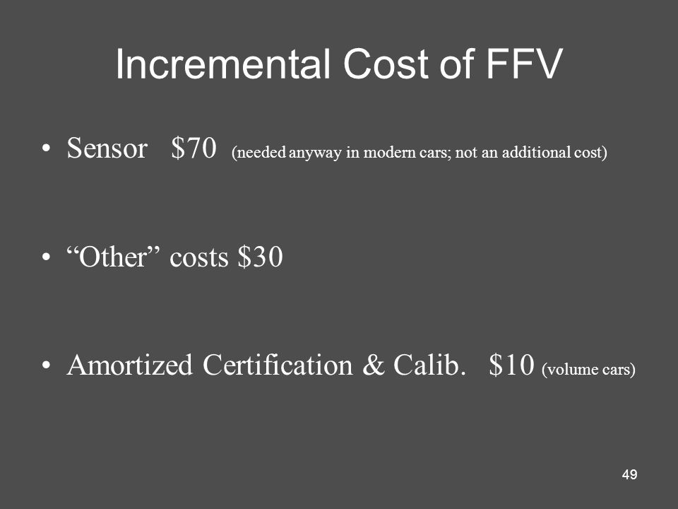 Incremental Cost of FFV