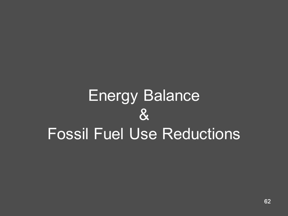 Energy Balance & Fossil Fuel Use Reductions
