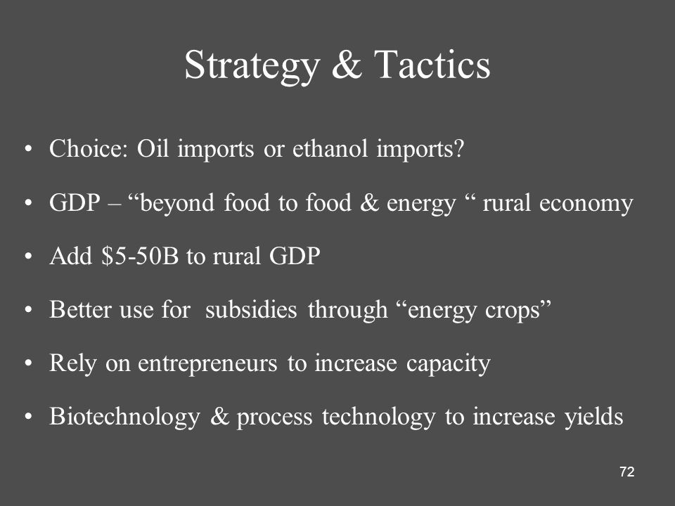 Strategy & Tactics Choice: Oil imports or ethanol imports
