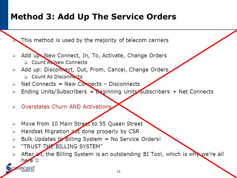 Method 3: Add Up The Service Orders