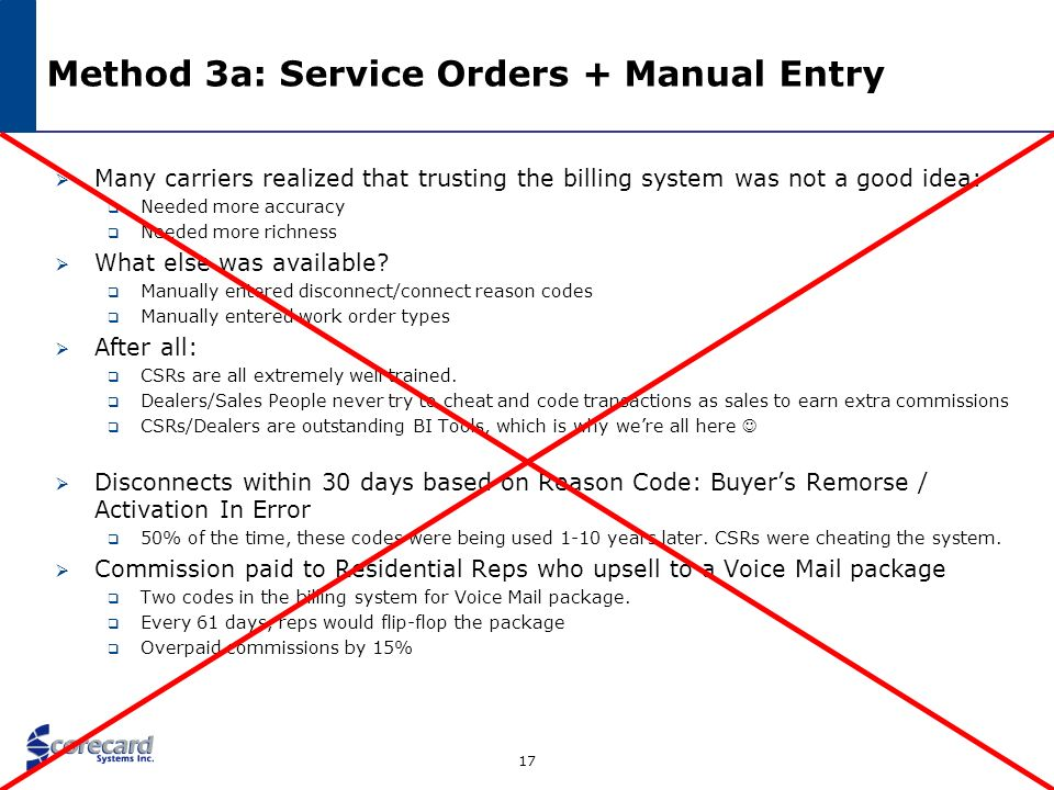 Method 3a: Service Orders + Manual Entry