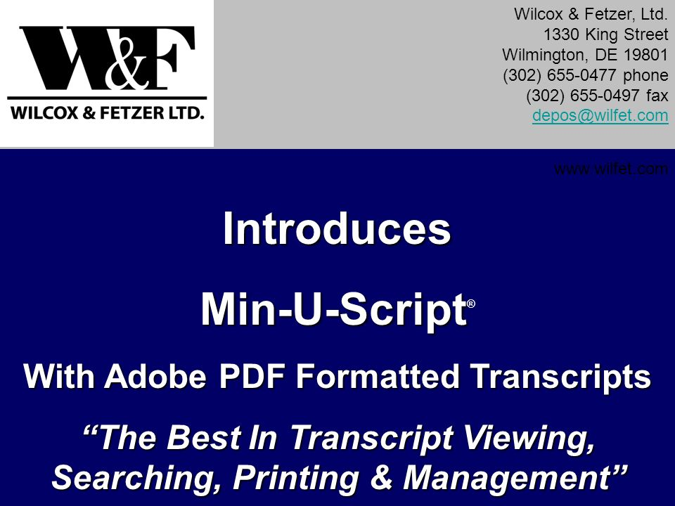 Introduces Min-U-Script®