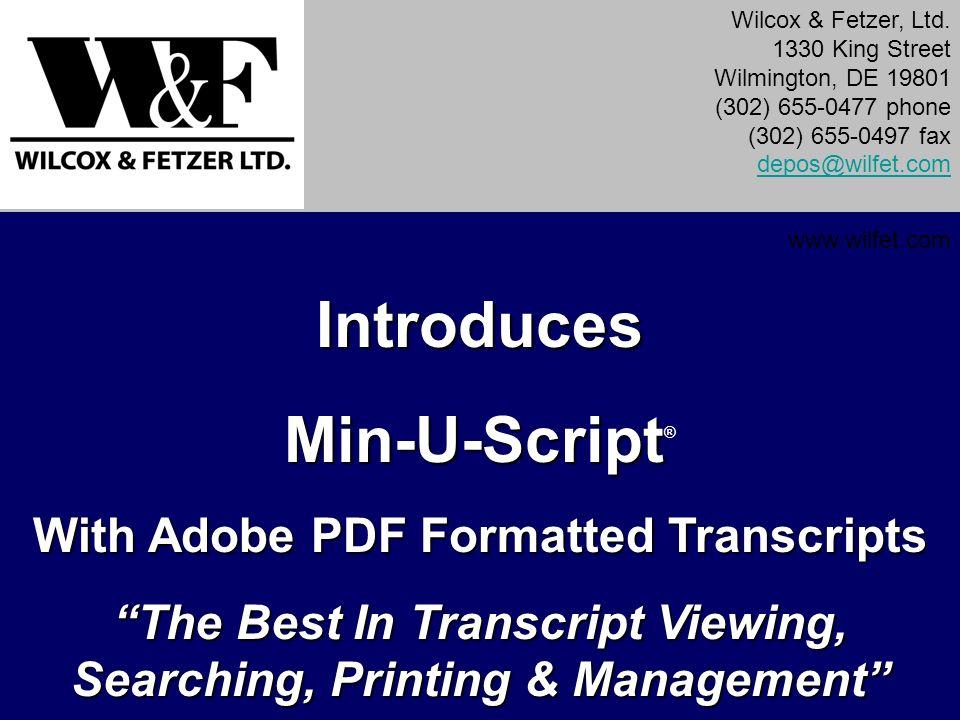 Introduces Min-U-Script®