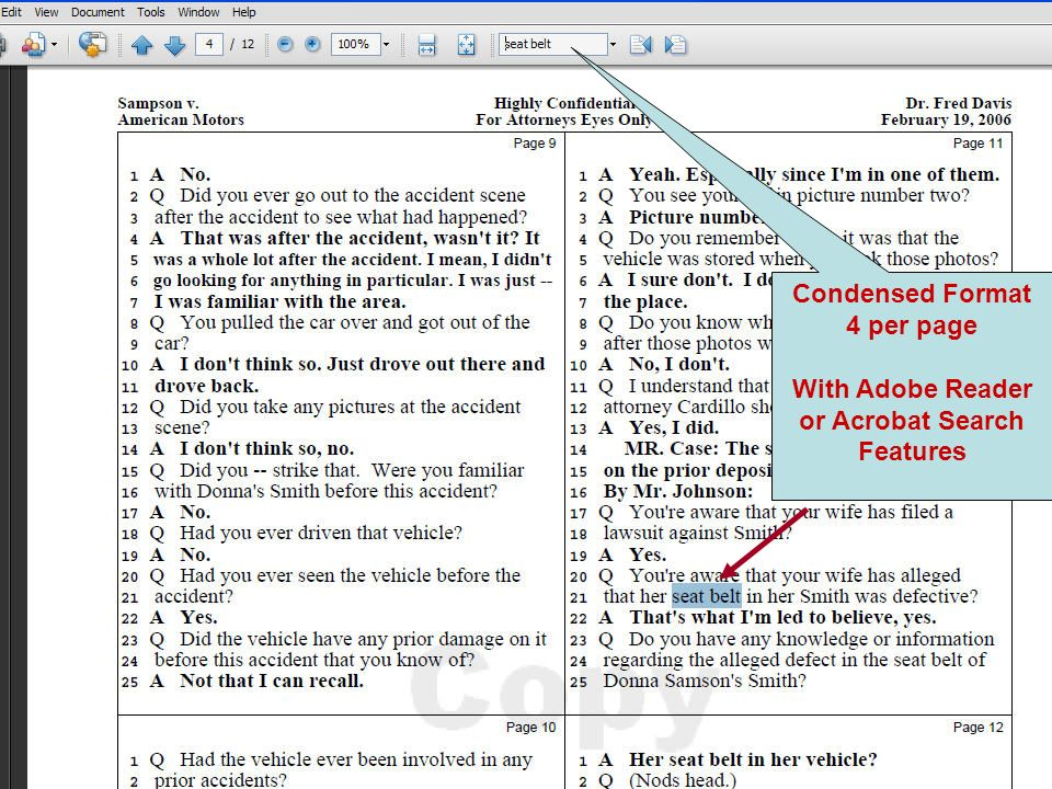 With Adobe Reader or Acrobat Search Features