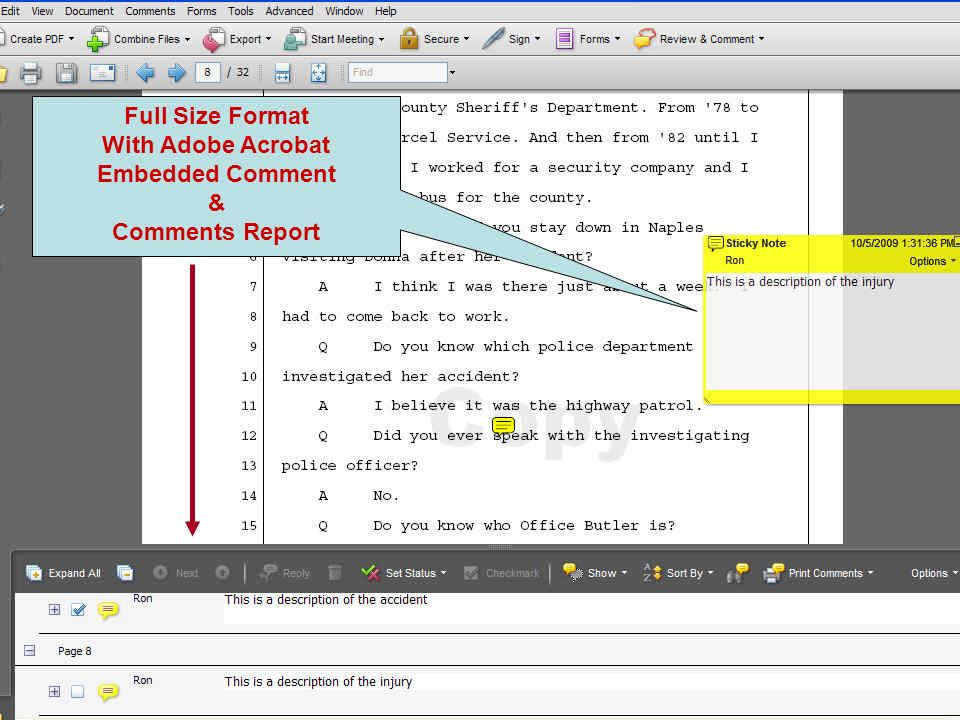 Full Size Format With Adobe Acrobat Embedded Comment & Comments Report