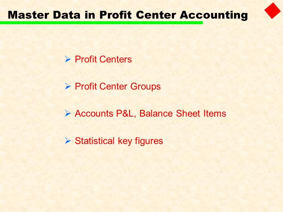 Master Data in Profit Center Accounting