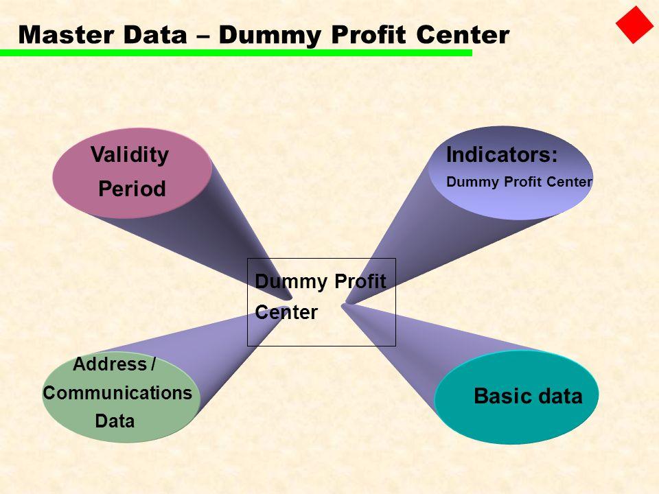 Master Data – Dummy Profit Center