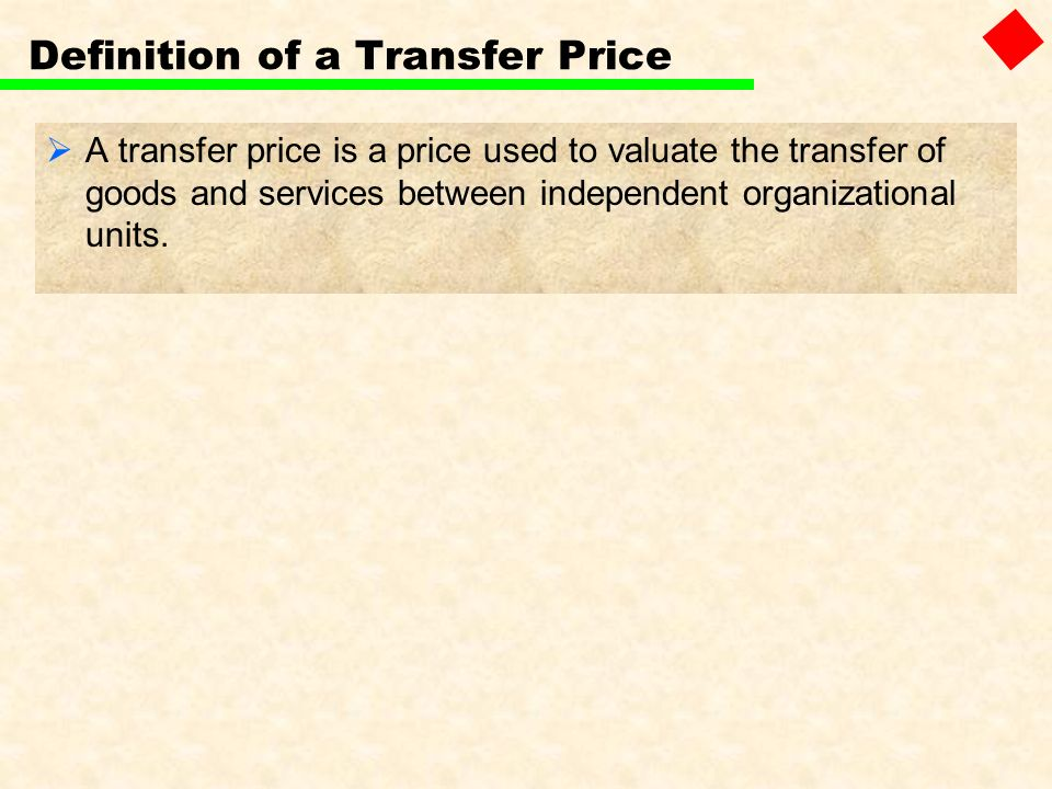 Definition of a Transfer Price