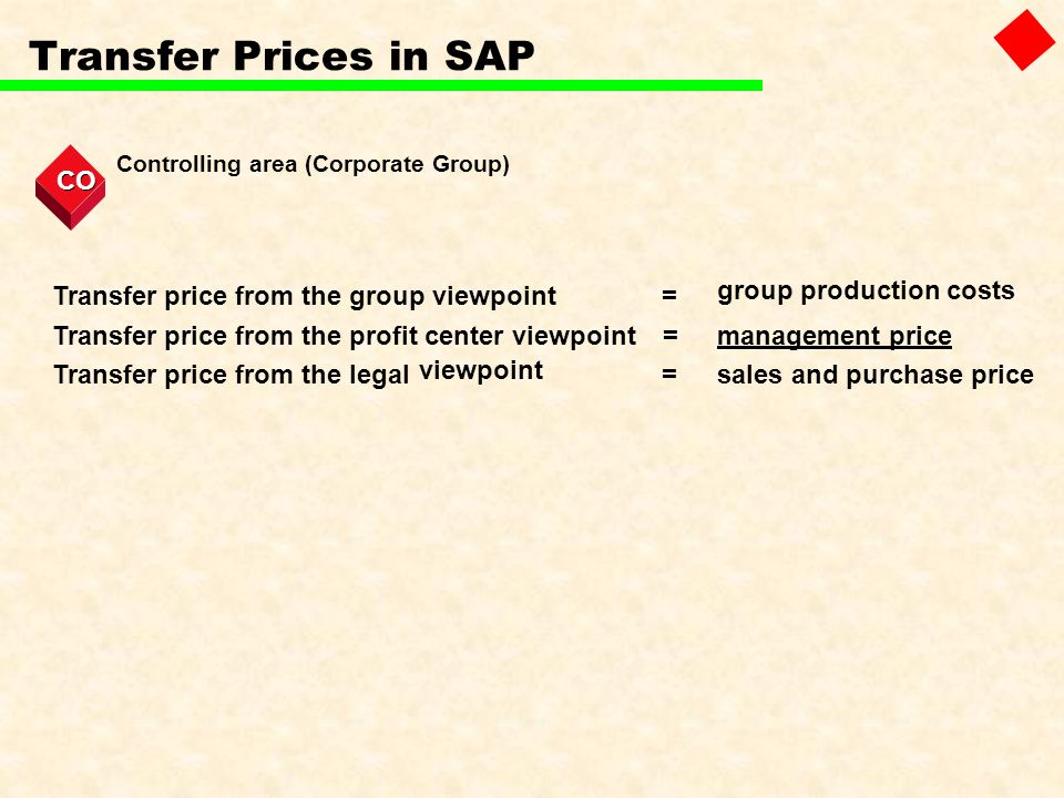 Transfer Prices in SAP CO Transfer price from the group viewpoint =