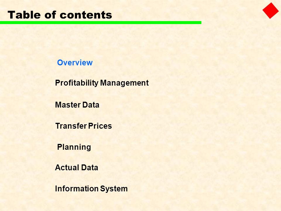Table of contents Overview Profitability Management Master Data