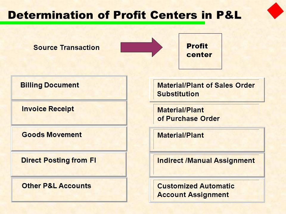 Determination of Profit Centers in P&L