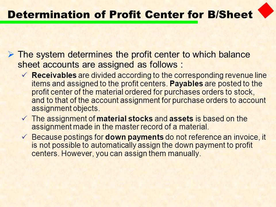 Determination of Profit Center for B/Sheet