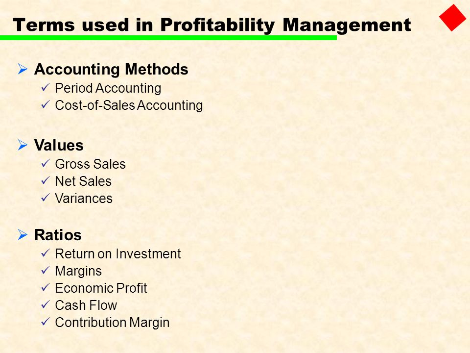 Terms used in Profitability Management