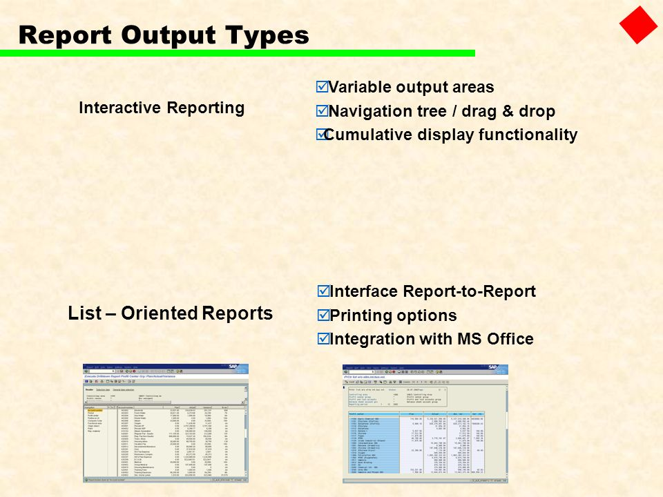Report Output Types List – Oriented Reports Variable output areas