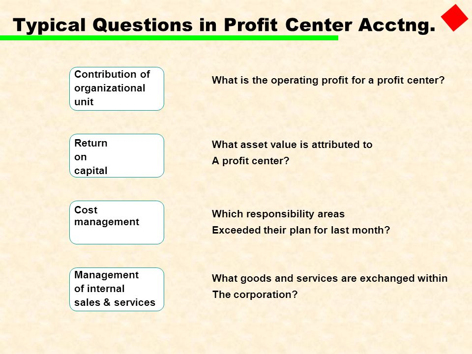 Typical Questions in Profit Center Acctng.