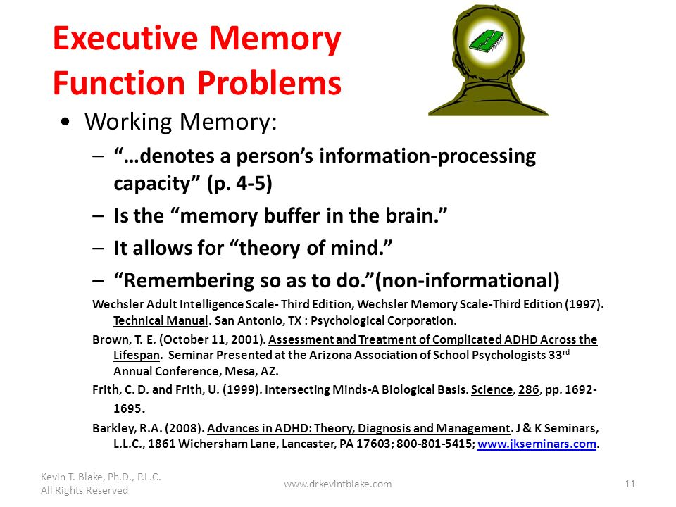 Executive Memory Function Problems