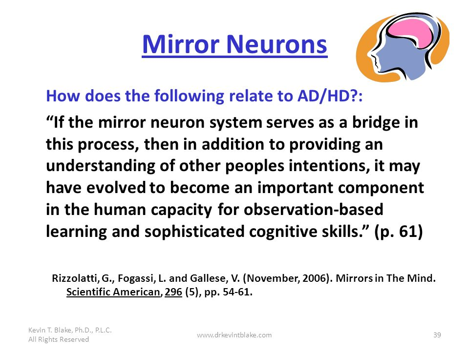 Mirror Neurons How does the following relate to AD/HD :