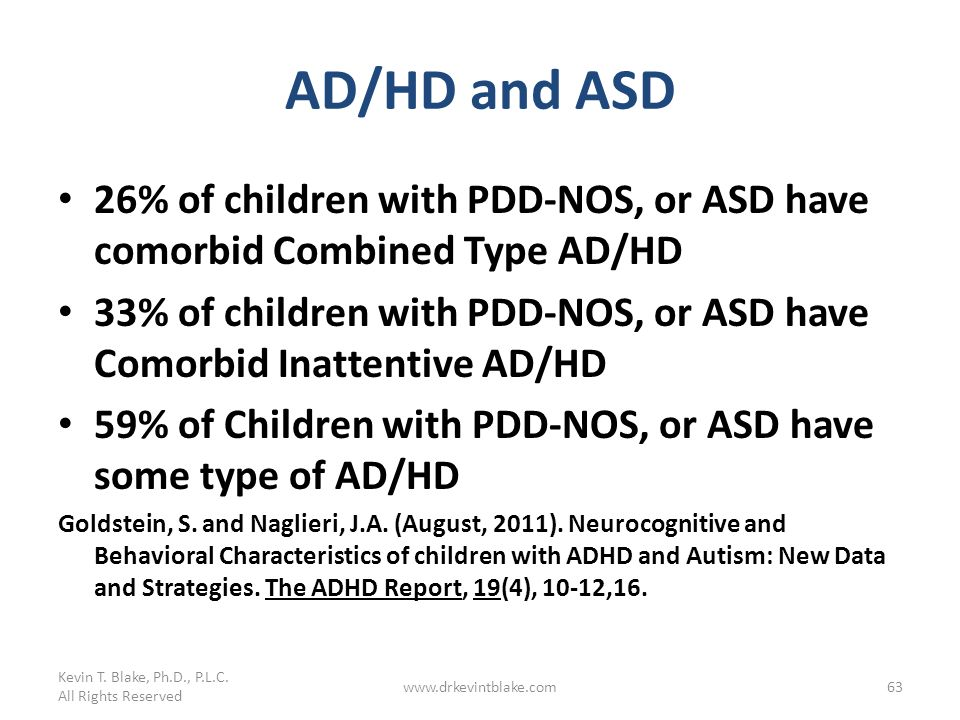 Kevin T. Blake, Ph.D., P.L.C. 3/25/2017. AD/HD and ASD. 26% of children with PDD-NOS, or ASD have comorbid Combined Type AD/HD.