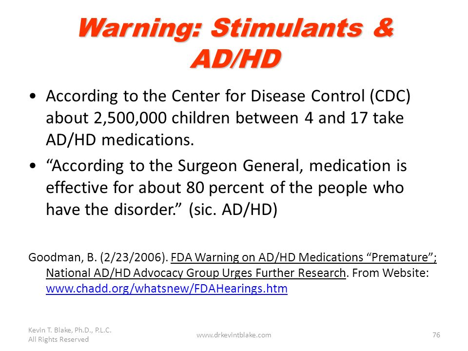 Warning: Stimulants & AD/HD