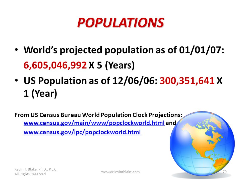 POPULATIONS World's projected population as of 01/01/07: