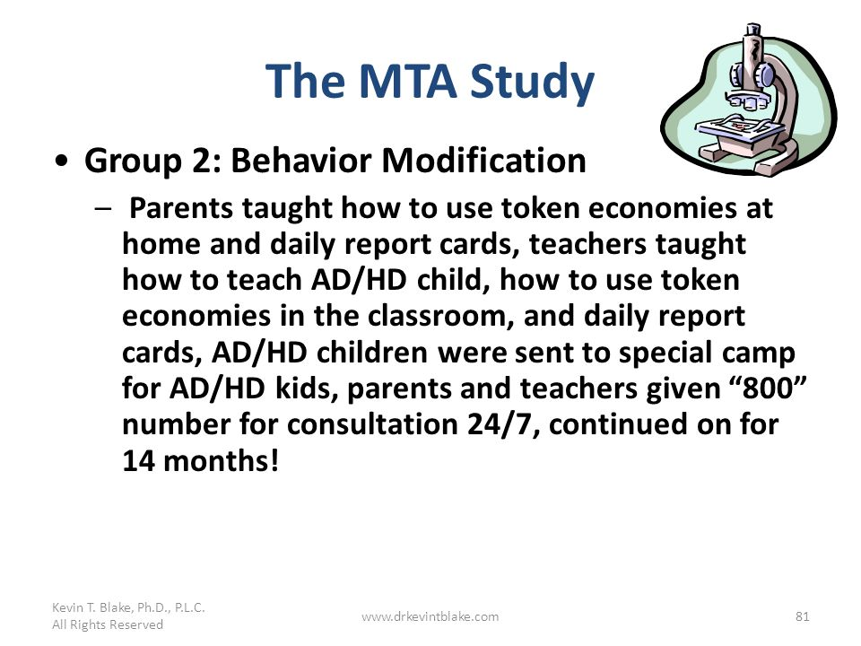 The MTA Study Group 2: Behavior Modification