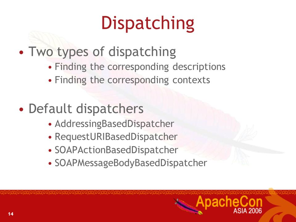 Dispatching Two types of dispatching Default dispatchers