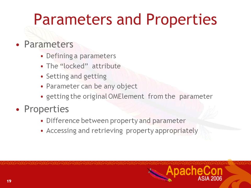 Parameters and Properties
