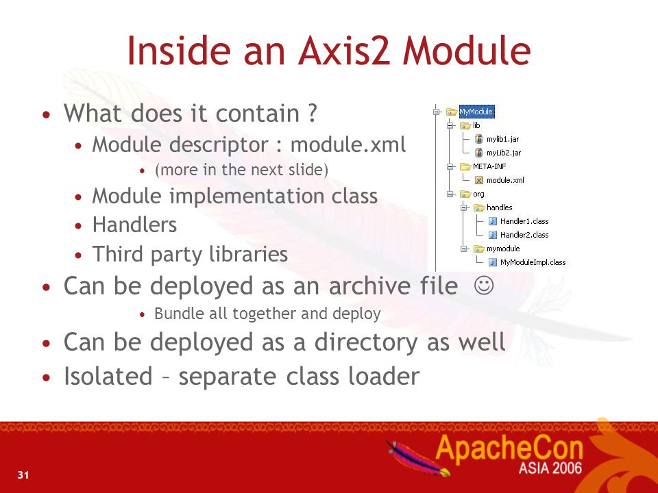Inside an Axis2 Module What does it contain