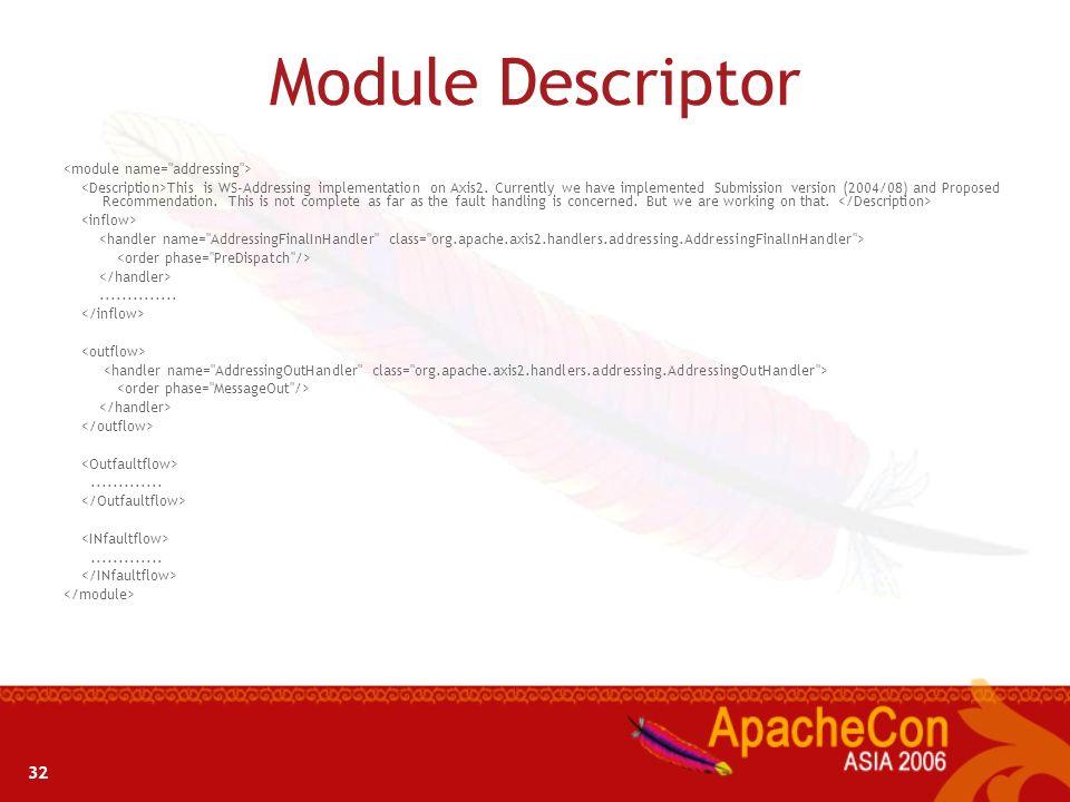 Module Descriptor 32 <module name= addressing >
