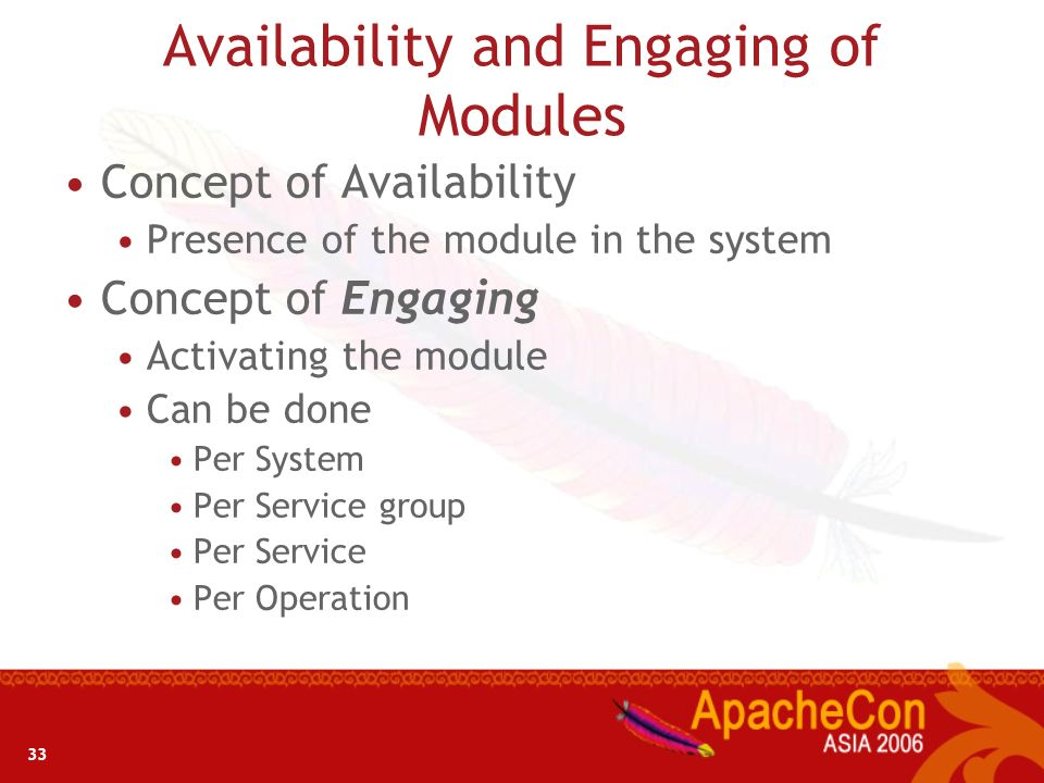 Availability and Engaging of Modules