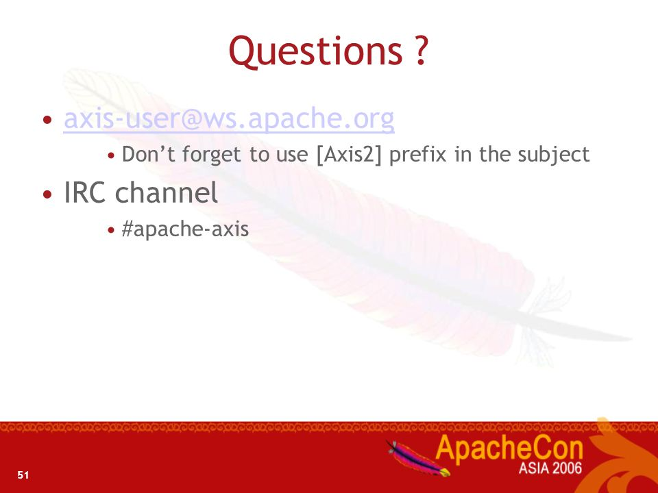 Questions axis-user@ws.apache.org IRC channel