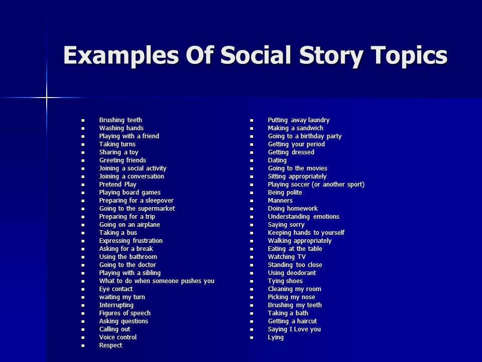Examples Of Social Story Topics