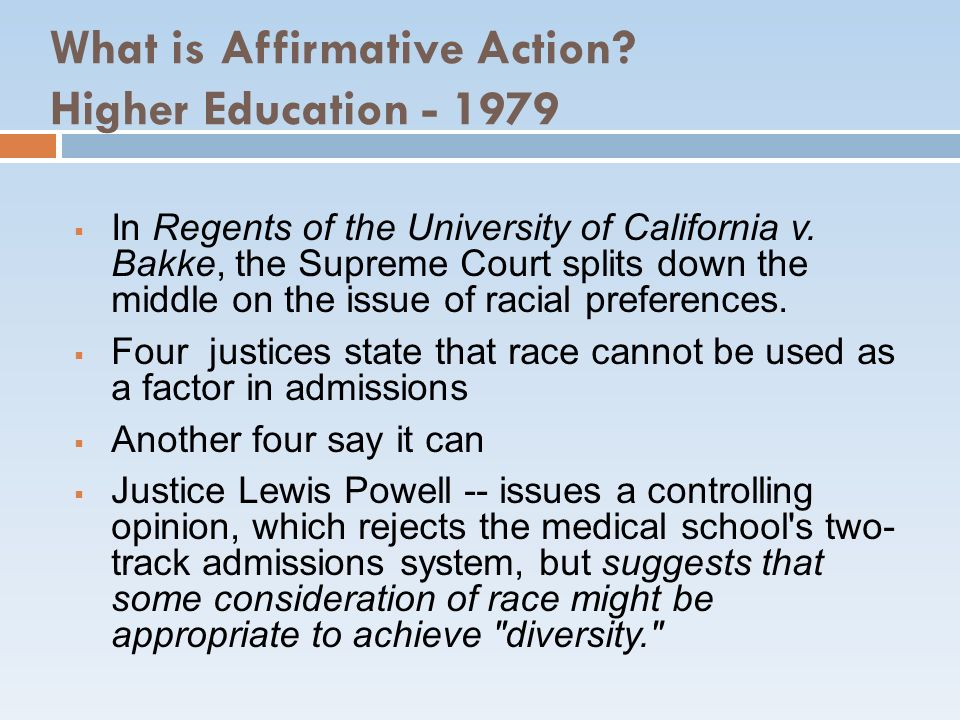 What is Affirmative Action Higher Education - 1979