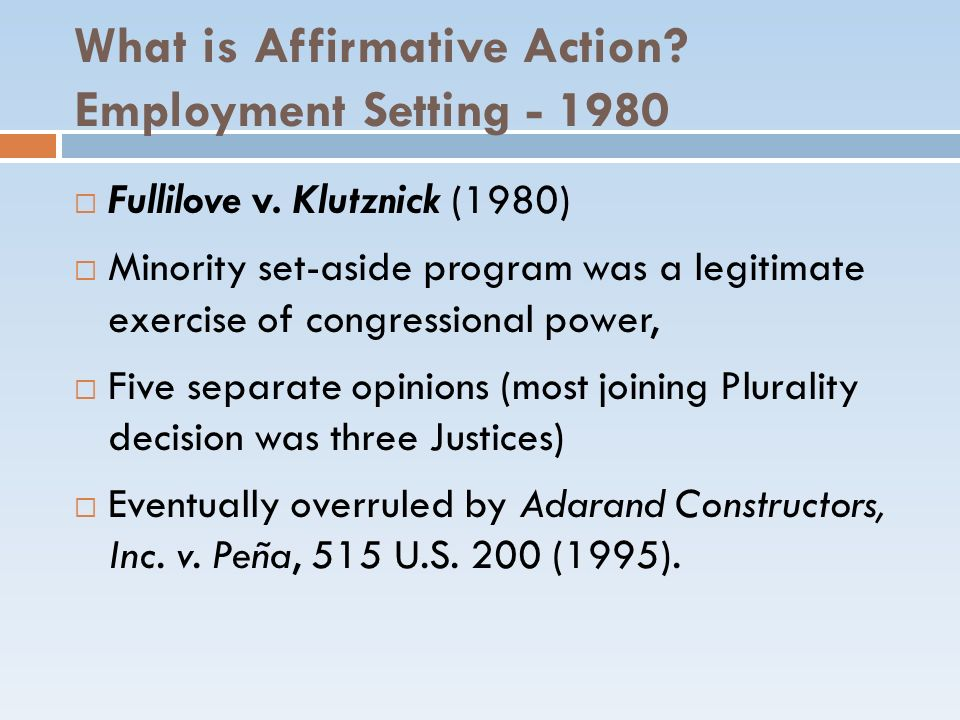 What is Affirmative Action Employment Setting - 1980
