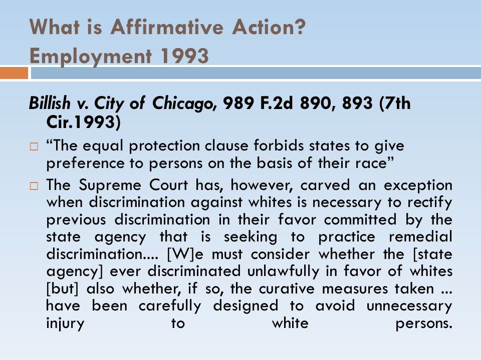 What is Affirmative Action Employment 1993