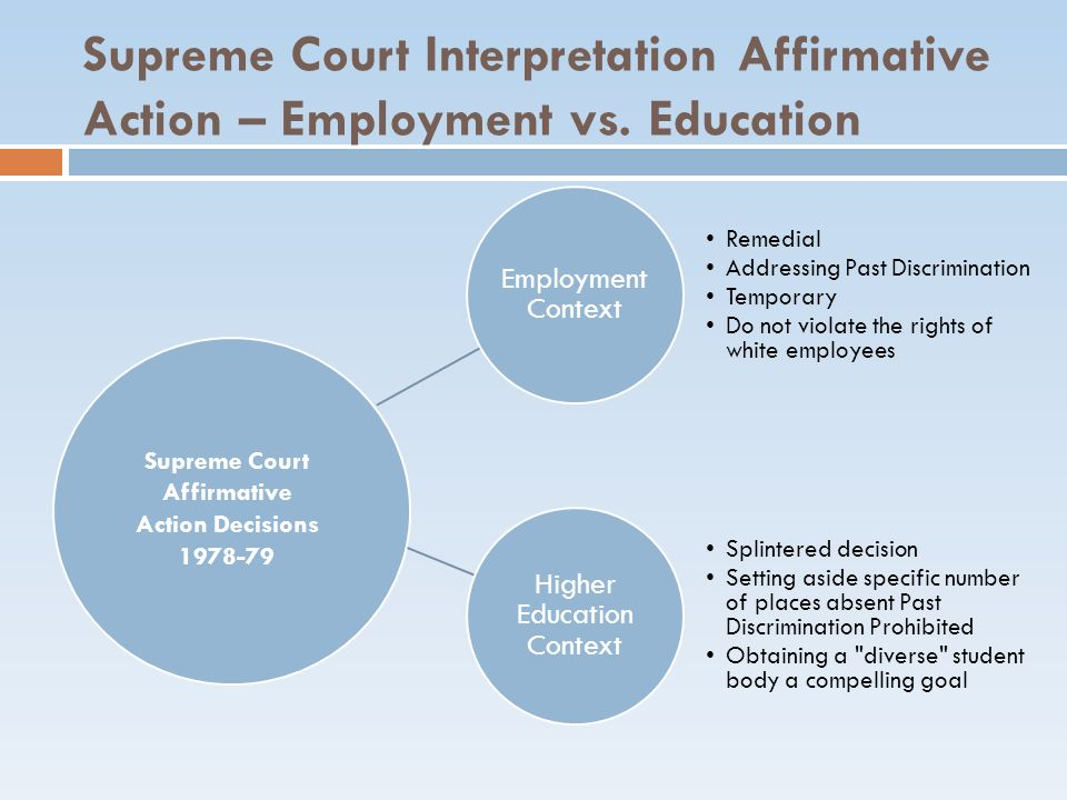 Affirmative Action Decisions 1978-79