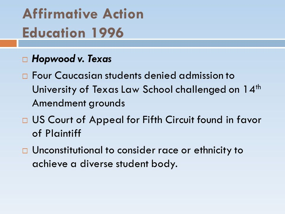 Affirmative Action Education 1996