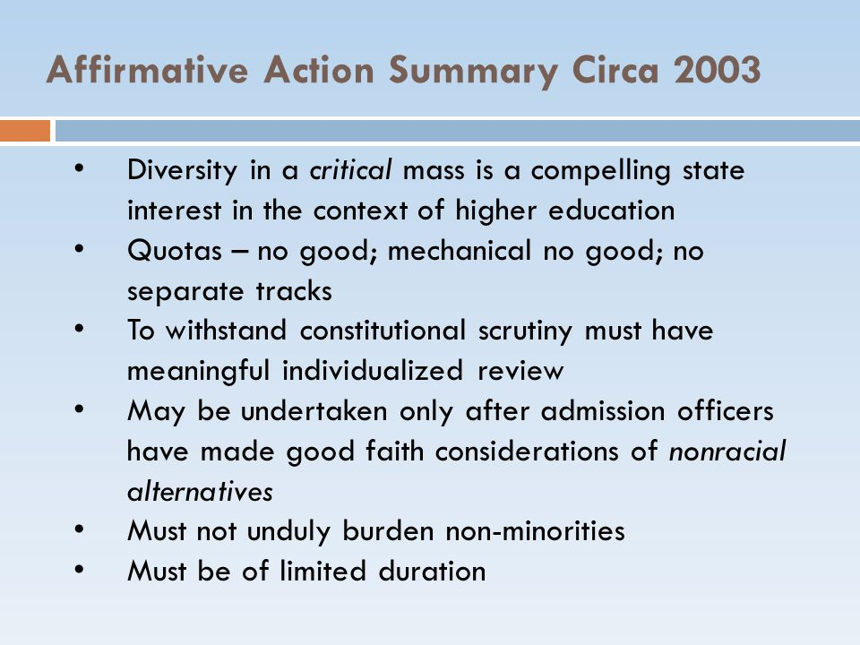 Affirmative Action Summary Circa 2003