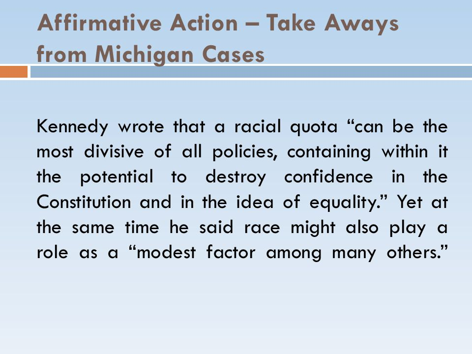 Affirmative Action – Take Aways from Michigan Cases