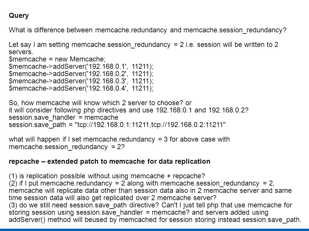 Query What is difference between memcache.redundancy and memcache.session_redundancy