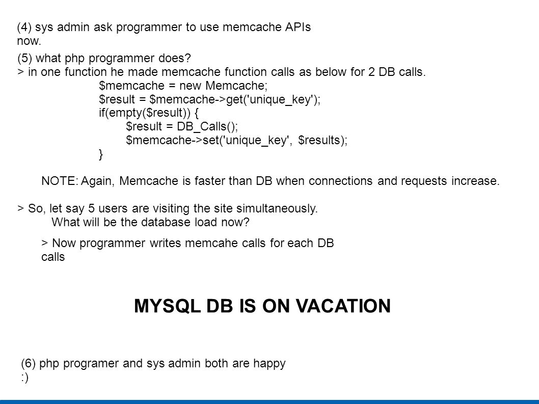 (4) sys admin ask programmer to use memcache APIs now.