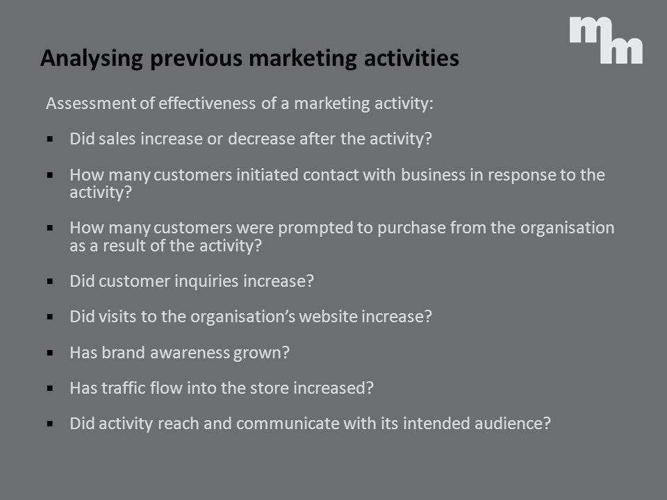 Analysing previous marketing activities